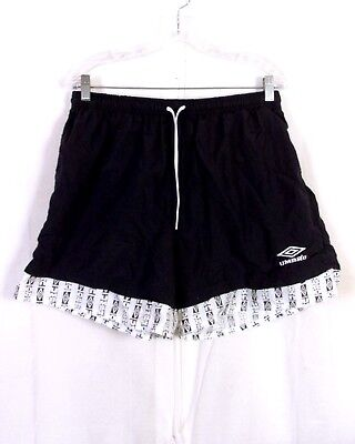 vtg 80s 90s Umbro black /white USA Made Nylon Umbro Shorts Soccer sz Adult XL