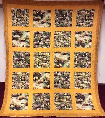 Look At This! Vintage Handmade French/Italian Countryside Patchwork Quilt