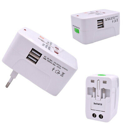 Universal Travel AC Power Adapter Wall Charger Plug Converter W/Dual USB Port #D