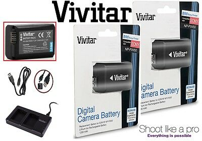 2-Pcs NP-FW50 Li-Ion Battery & Dual USB Charger For Sony Alpha a6400 ILCE-6400
