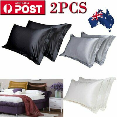 2XQueen Silk Satin Pillow Case Cover Solid Standard Bedding Smooth Soft 48x74CM