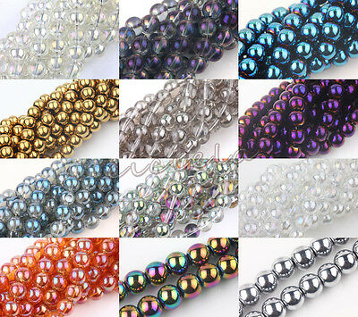 Round Czech Crystal Glass Loose Spacer Bead DIY Charm Jewelry Craft 6/8/10/12 MM