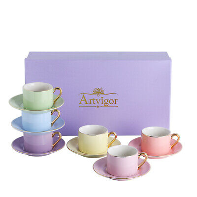 ARTVIGOR 220ml Bright Color Espresso Coffee Cup & Saucer w/Gift Box for 6 Person