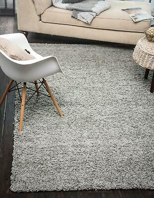 GREY PLAIN SHAG RUGS Modern Thick LIVING ROOM AREA CARPET X Large Sizes RUNNERS