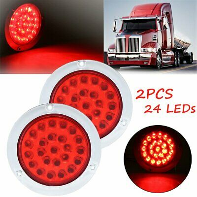 2x 24LED Red Round Reverse Stop Rear Tail Light Brake Turn Signal Lamp Truck