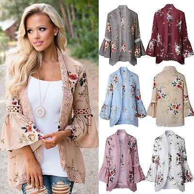 Boho Women Bell Sleeve Lace Floral Kimono Cardigan Bridal Casual Jacket Coat Top