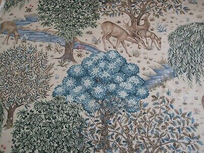 """WILLIAM MORRIS CURTAIN FABRIC """"The Brook"""" 3.1 MTRS TAPESTRY LINEN ARCHIVE III"""