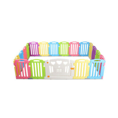 19 Panel Kids Playpen Multicolor Toddlers Safety Plastic Stackable Baby Fence