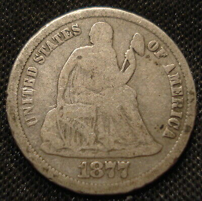 United States 1877 Cc Seated Liberty Dime Clear Date & Mint Mark