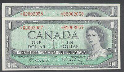 1954 Bank Of Canada Replacement Bank Notes *B/M Lot Of 2 Consecutive