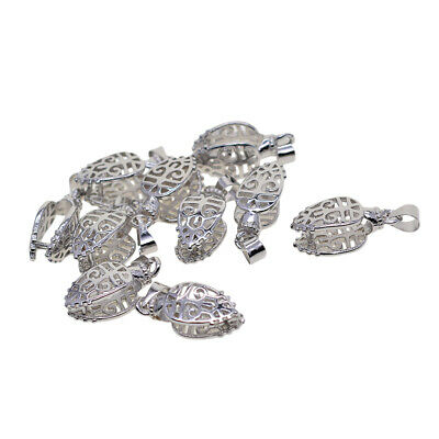 10x Filigree Pendant Pinch Bails Metal Clips Jewelry Making Findings Silver