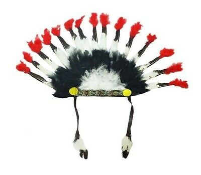 Adult Native American Indian Chief Headdress Feather Headband Costume Accessory