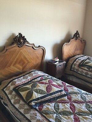 Louis XV Provincial Style (19/20th Cent) Walnut Twin Bed Antique Stunning- Free