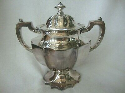 Antique Quality American Silver Plated Pedestal Bowl And Lid Meriden Company