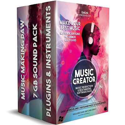 Music Editing Software Recording Production Mixing DAW, Plugins, Sounds 32Gb USB
