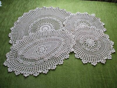 Vintage Tray Cloths+ Table Center & 2 Mats-Hand Crochet-Ecru