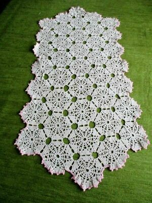 "VINTAGE TABLE RUNNER - ALL HAND CROCHET - SOFT ECRU -12.5"" x 28"""