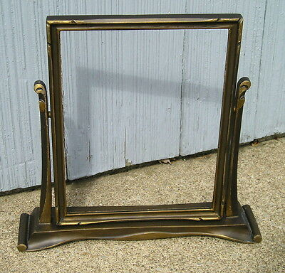 Vintage Art Crafts Art Deco Bronze Gold Wood Toggle Picture Frame 7 x 9 as found