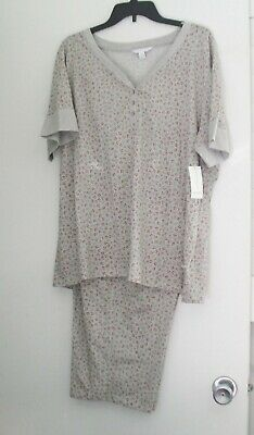 3247f1408447 Charter Club Womens Printed Cotton Pajama Set Cascading Holly Sz XL - NWT