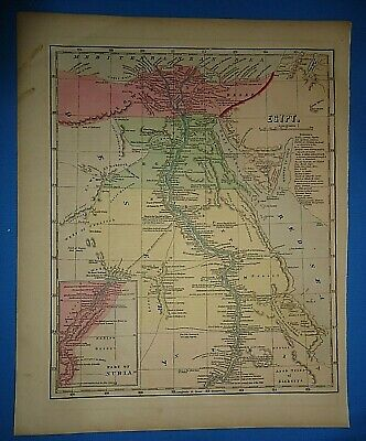 Antique 1856 Hand Colored EGYPT - NILE RIVER BASIN MAP Old Authentic Vintage Map