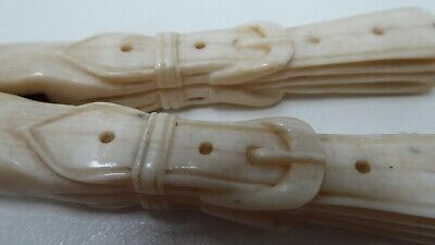 Victorian Antique Ladies Glove Stretcher - Hand Carved Belt Buckles On Handles