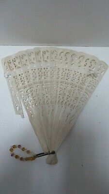 Antique Japanese Ornate Carved Filigree Ladies Folding Fan