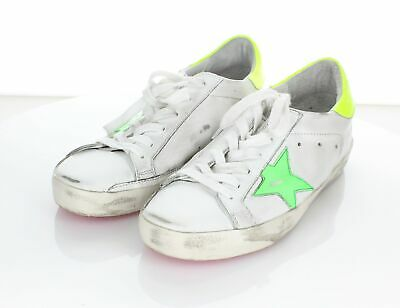 c988b1a18 C30 Golden Goose Superstar White/Green/Yellow Leather Sneakers Women's Sz  36 M