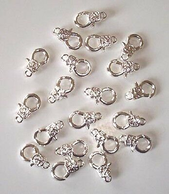 20 medium silver plated patterned trigger clasps - 15mm, findings for jewellery