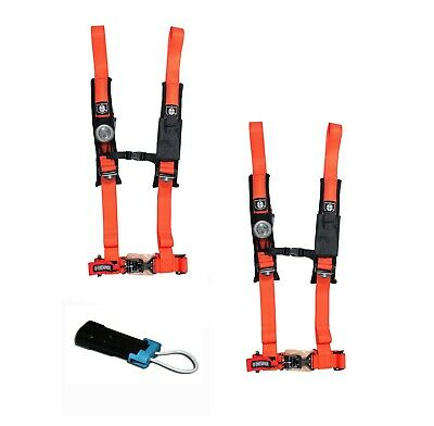 PRO ARMOR ORANGE 4 Point 2 Inch Harness Pair Seat Belt Bypass Can-Am