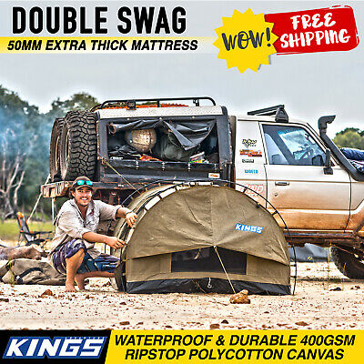 Kings Double Swag Canvas 50mm Kings Big Daddy Mattress Tent Hiking Aluminium