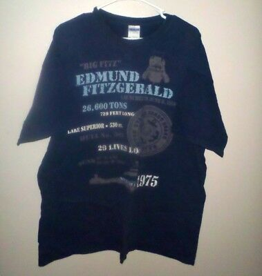 EDMUND FITZGERALD Great Lakes freighter T shirt embroidery tee XL ship Big Fitz