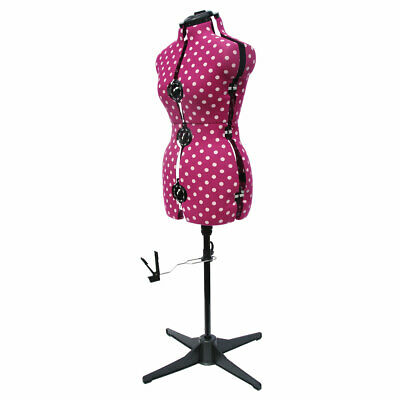 Adjustable 8-Part Dressmaking Dummy Cerise Polka Dot | 2 Sizes | Adjustoform