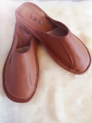 Women Ladies 100% Real Leather Slipper Mules Clogs Slip On Shoes All Sizes