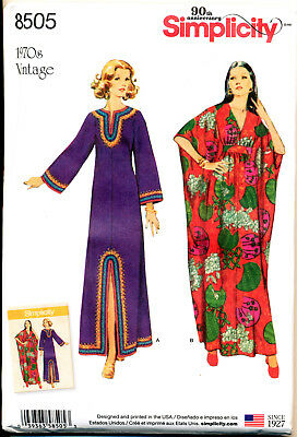 SIMPLICITY SEWING PATTERN 8505 MISSES 10-20 RETRO 1970s VINTAGE CAFTANS 2 STYLES
