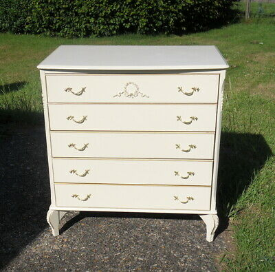 A French Louis Shabby Chic Ivory & Gold Coloured Chest Of Drawers 3 Or 4 Drawers