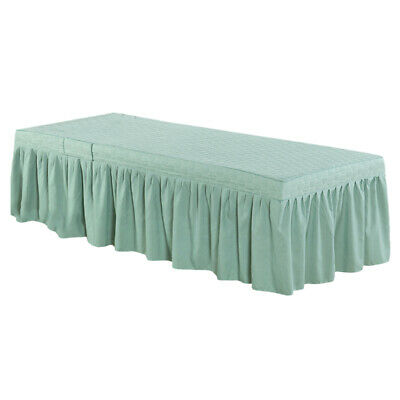 "Hotel Massage Table Bed Valance Sheet with Face Hole for Bed in 73x28"" Green"