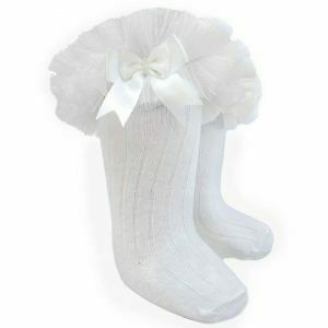 BNWT Girls knee high ribbed frilly / tutu knee high socks in white