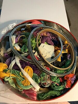 Vintage Tin Filled With Embroidery Thread , Metal & Wood Old Hoops ,etc