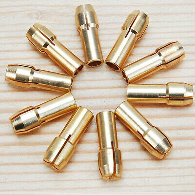 10x BRASS COLLET BIT DRILL CHUCK 0.5-3.2mm FOR DREMEL ETC ROTARY TOOLS