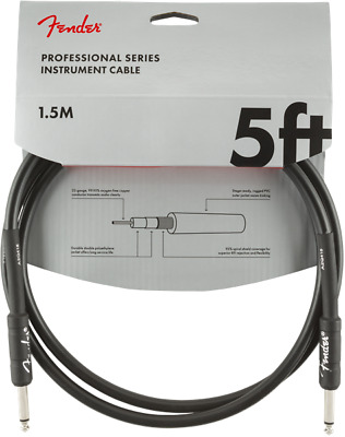 Fender Professional Series Black Guitar/Instrument Cable, Straight, 5' ft