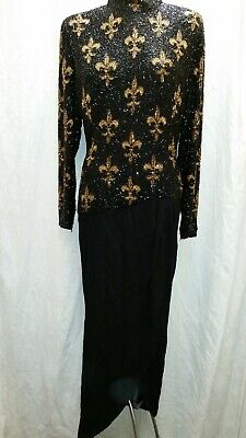 cec558c7 Bob Mackie Boutique Vintage Heavily Beaded Evening Gown Black Gold Size 10
