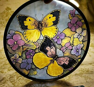 VINTAGE GLASSMASTERS Butterfly Stained Glass Art Suncatcher NEW In Original Box