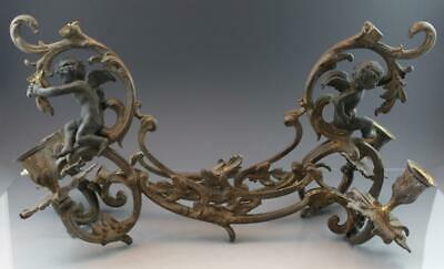 Pair French Bronze Rococo Revival Candelabra Arms Candle Sconces w/ Cherbus