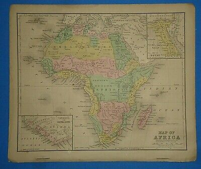 Vintage 1868 AFRICA Map Old Antique Original Atlas Map