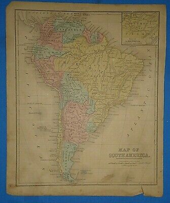 Vintage 1868 SOUTH AMERICA Map Old Antique Original Atlas Map