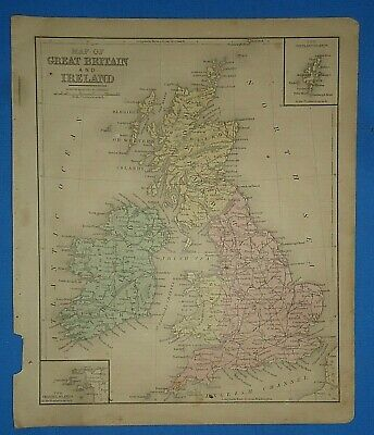 Vintage 1868 GREAT BRITAIN - IRELAND Map Old Antique Original Atlas Map