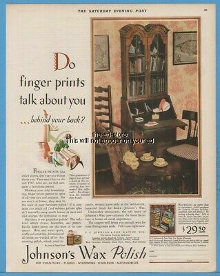 1929 Johnson Furniture Floor Polish Wax Racine Wi Fingerprints Talk About You Ad