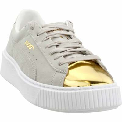 info for 66dd2 a93f6 PUMA SUEDE PLATFORM Gold Sneakers - White - Womens