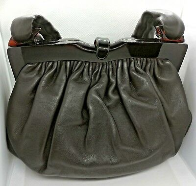 Borsa vintage 1960 pelle nappa backelite lucite brown leather bag