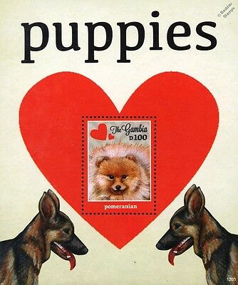 Puppy Dog Stamp Sheet (Pomeranian / German Shepherd) 2012 Gambia